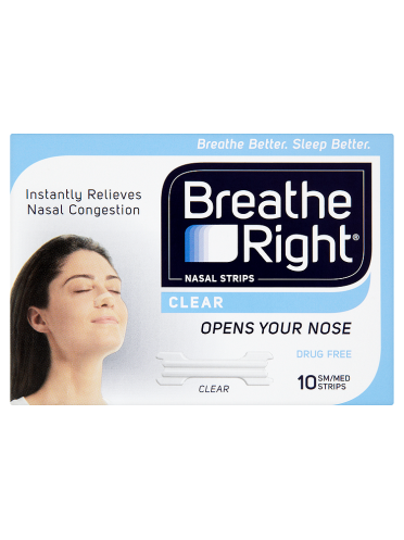 Breathe Right Nasal Strips Clear 10 Sm/Med Strips