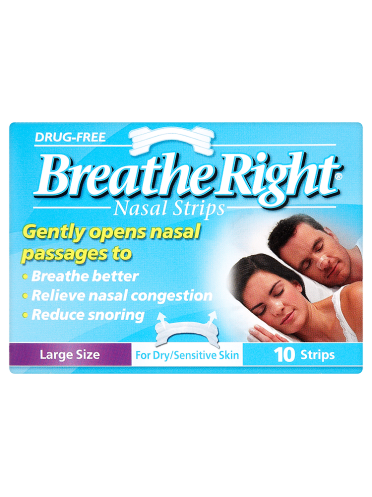 Breathe Right Nasal Strips Large Size for Dry/Sensitive Skin 10 Strips