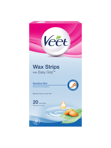 Veet Wax Strips with Easy Grip Sensitive Skin Almond Oil and Vitamin E 20 Wax Strips