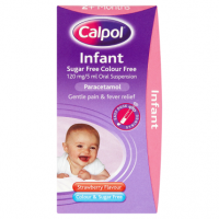 Calpol Infant Sugar Free Colour Free 120 mg/5 ml Oral Suspension Strawberry Flavour 2+ Months 100ml