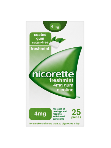 Nicorette Freshmint Sugar-Free 4mg Nicotine 25 Pieces