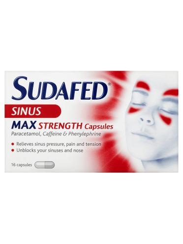 Sudafed Sinus Max Strength Capsules 16 Capsules