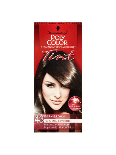 Schwarzkopf Poly Color Permanent Cream Colour Tint 43 Dark Brown
