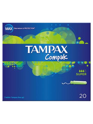 Tampax Compak Super Applicator Tampons x20