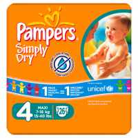 Pampers Simply Dry Size 4 Carry Pack 26 Nappies Per Pack