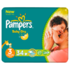 Pampers Nappies Baby Dry Size 3 (Midi) 4-9kg/9-20lbs 34 Nappies