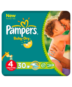 Pampers Nappies Baby Dry Size 4 (Maxi) 7-18kg/15-40lbs 30 Nappies