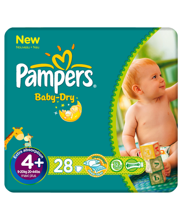 Pampers Nappies Baby Dry Size 4+ (Maxi+) 9-20kg/20-44lbs 28 Nappies