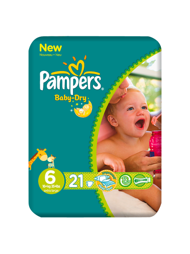 Pampers Nappies Baby Dry Size 6 (Giant) 16+kg/35+lbs 21 Nappies
