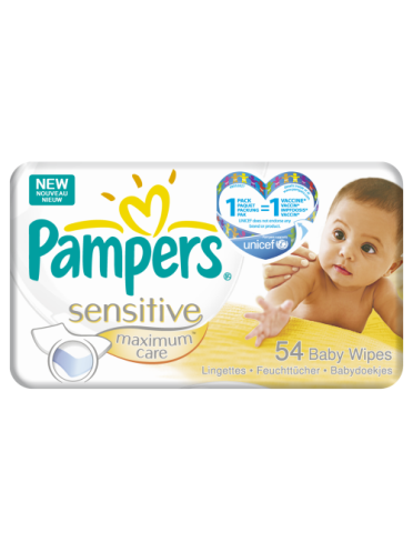 Pampers Baby Wipes Sensitive Maximum Care single pack (54 wipes)