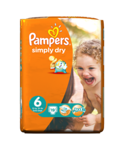 Pampers Simply Dry Size 6 (Extra Large) 15+Kg 19 Nappies