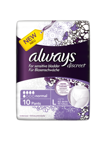 Always Discreet Incontinence Pants Normal Large x 10