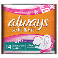 Always Ultra Soft & Fit Fresh Normal Plus Sanitary Towels x 14