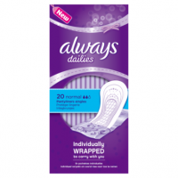 Always Dailies Individually Wrapped Normal Pantyliner Singles 20 count