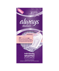 Always Dailies Individually Wrapped Normal Freshness Pantyliner Singles 20 count