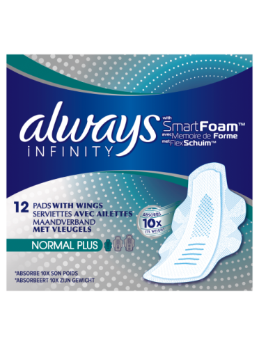 Always Infinity Normal Plus Sanitary Towels with Wings 12 count