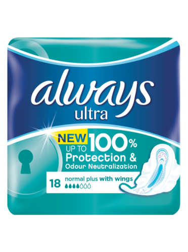 Always Ultra pads Normal Plus 18 count