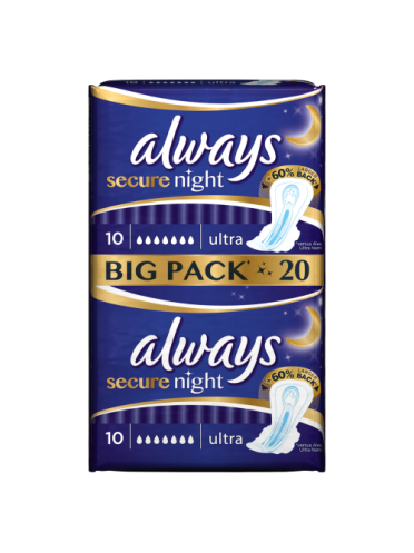 Always Ultra Secure Night Sanitary Towels - 20 pads