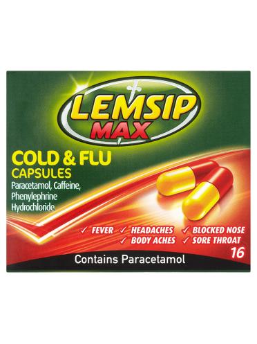 Lemsip Max Cold & Flu Capsules 16 Capsules
