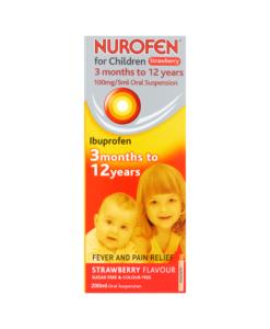 Nurofen for Children 100mg/5ml Oral Suspension Strawberry Flavour 3 Months to 12 Years 200ml