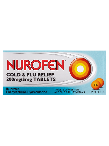 Nurofen Cold & Flu Relief 200mg/5mg Tablets 16 Tablets