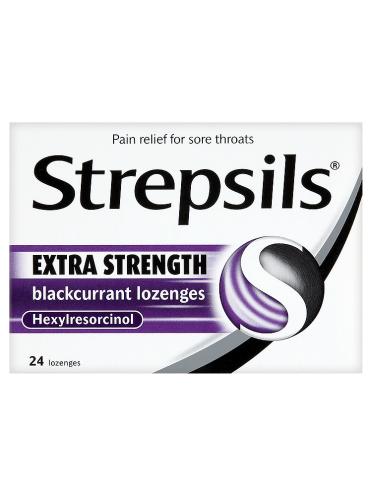Strepsils Extra Strength Blackcurrant Lozenges 24 Lozenges