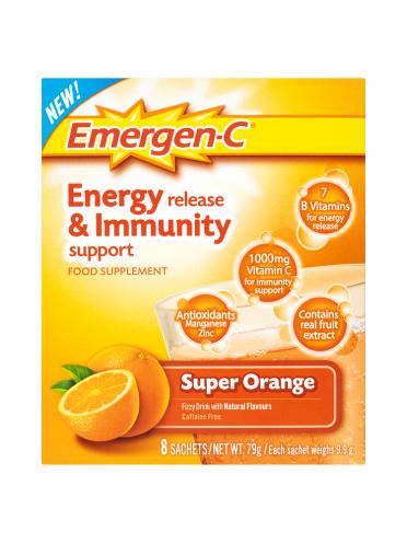 Emergen-C Energy Release & Immunity Support Food Supplement Super Orange 8 Sachets 79g