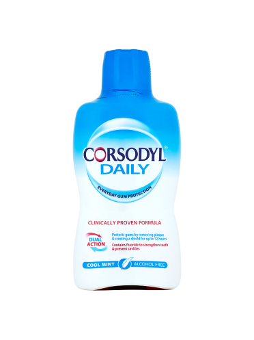 Corsodyl Daily Cool Mint Alcohol Free Mouthwash 500ml