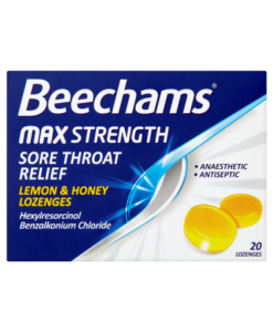 Beechams Max Strength Sore Throat Relief Lemon & Honey Lozenges 20 Lozenges