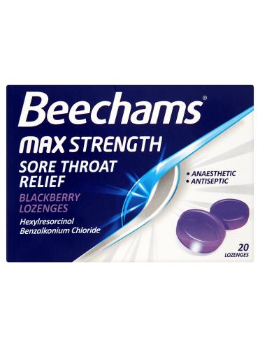Beechams Max Strength Sore Throat Relief Blackberry Lozenges 20 Lozenges