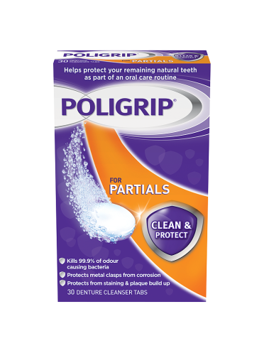 Poligrip for Partials Clean & Protect 30 Denture Cleanser Tabs