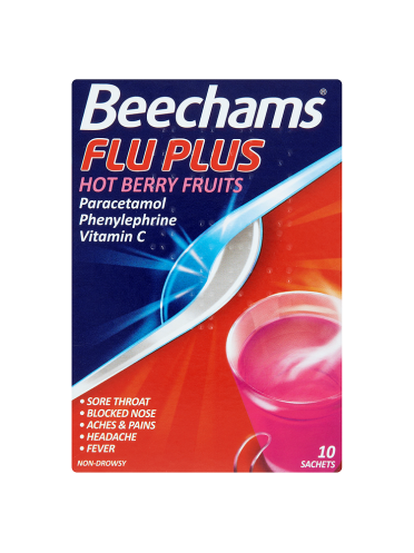 Beechams Flu Plus Hot Berry Fruits 10 Sachets