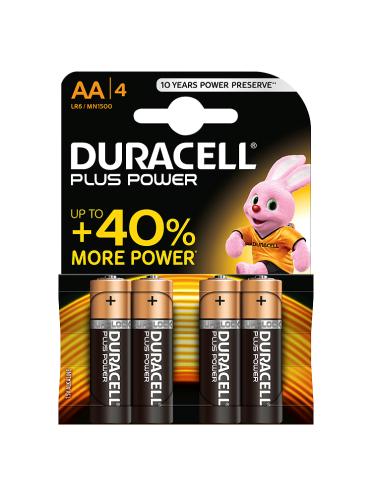 Duracell Plus Power AA Alkaline Batteries 4 counts