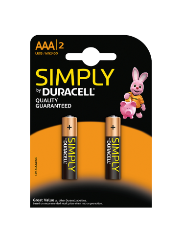 Duracell Simply AAA Alkaline Batteries 2 counts