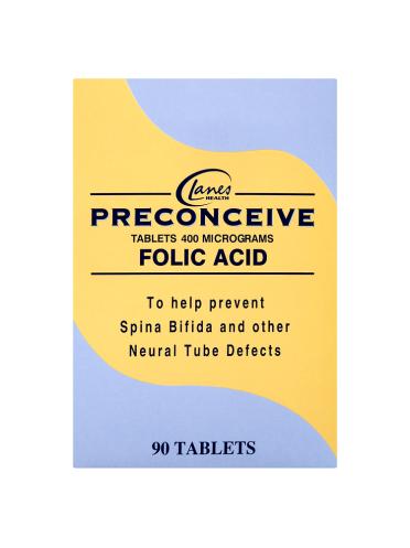 Lanes Health Preconceive Folic Acid Tablets 90 Tablets