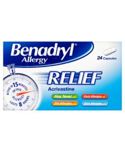 Benadryl Allergy Relief Acrivastine 24 Capsules