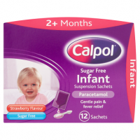 Calpol Sugar Free Infant Suspension Sachets Strawberry Flavour 2+ Months 12 x 5ml Sachets