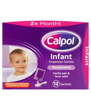 Calpol Infant Suspension Sachets Strawberry Flavour 2+ Months 12 x 5ml Sachets