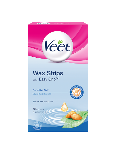 Veet Wax Strips with Easy Grip Sensitive Skin Vitamin E and Almond Oil 16 Wax Strips