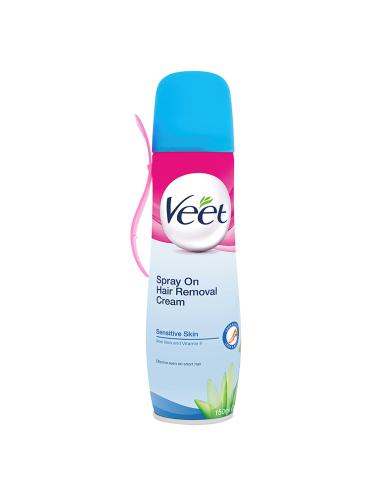 Veet Spray On Hair Removal Cream Sensitive Skin Aloe Vera & Vitamin E 150ml