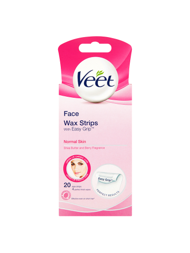 Veet Face 20 Wax Strips with Easy Grip + 4 Perfect Finish Wipes for Normal Skin