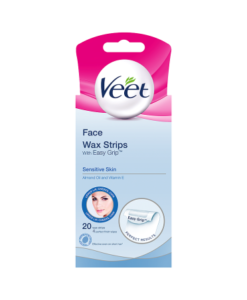 Veet Face Wax Strips with Easy Grip Sensitive Skin Almond Oil and Vitamin E 20 Wax Strips