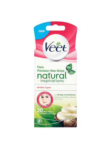 Veet Natural Inspirations Face Precision Wax Strips with Shea Butter All Skin Types 20 Wax Strips
