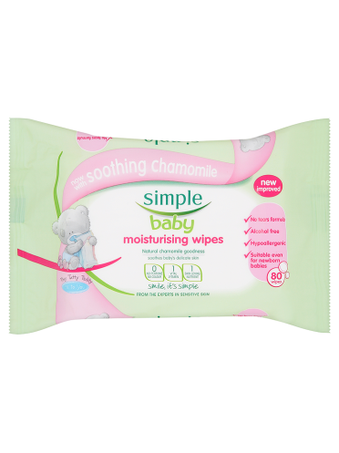 Simple Baby Moisturising Wipes 80 Wipes