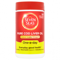 Seven Seas Pure Cod Liver Oil Natural Source Omega-3 120 One-a-Day Capsules
