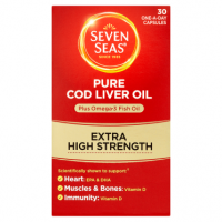 Seven Seas Pure Cod Liver Oil Plus Omega-3 Fish Oil Extra High Strength 30 One-a-Day Capsules