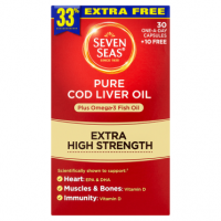 Seven Seas Pure Cod Liver Oil Plus Omega-3 Fish Oil Extra High Strength 30 One-a-Day Capsules +10