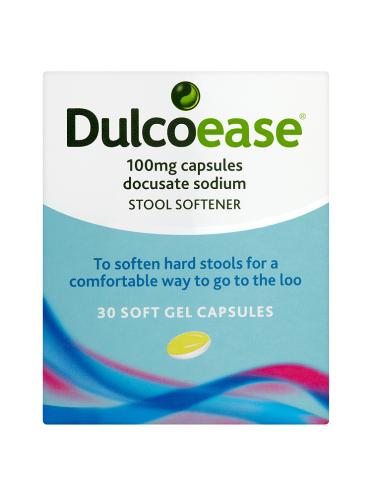DulcoEase 100mg Capsules Stool Softener 30 Soft Gel Capsules