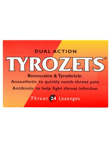 Tyrozets Dual Action Throat 24 Lozenges
