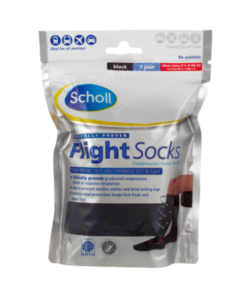 Scholl Flight Socks Black 1 Pair Shoe Sizes 6 1/2-9